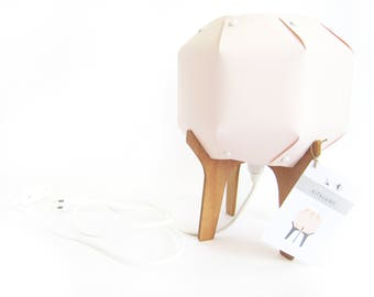 wooden and paper lamp /  powdery pink lamp / handmade / origami table lamp