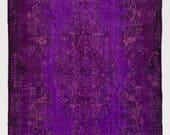 5.8x9.6 Ft Vintage Handmade Rug in grape & fuchsia color. Overdyed Handmade Carpet for modern office or home. CUSTOM OPTIONS Available. c410