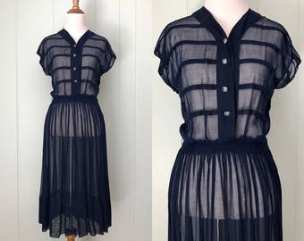 1940s/1950s Navy Blue Sheer Striped Dress | 40s/50s Short Sleeve Voile Day Dress | Vintage Retro Button Down V-Neck Shirtwaist Dress