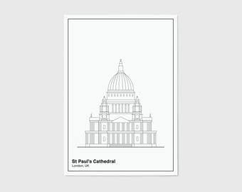 St Pauls Cathedral, Line, London Print | London Artwork | London Illustration | Architecture Print | City Print