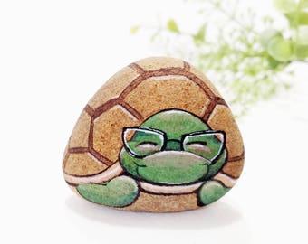 Turtle stone painting.original artwork.