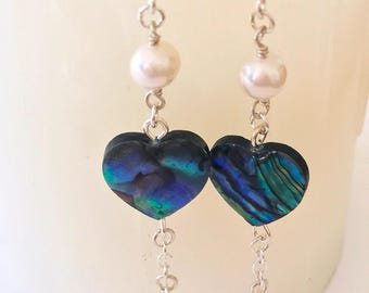 Abalone Heart Earrings, Abalone Pearl Earrings, Heart Earrings, Abalone Earrings