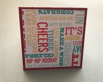 Mini Note Cards Set: 3x3 Cards; Happy Birthday ; Gift Enclosure; Tag