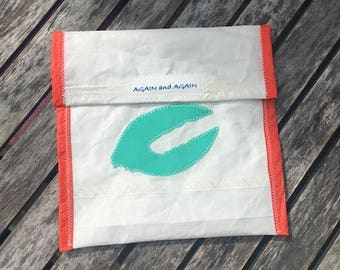 Accessories Pouch - made from recycled sails - Teal Lobster Claw