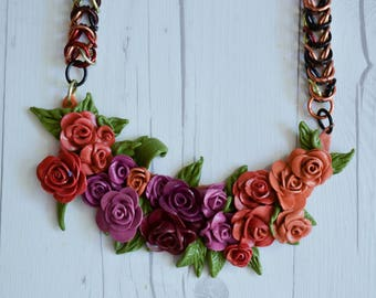 Handmade Floral Clay Necklace - Jewelry, accessories, handmade necklace, clay necklace, chain necklace