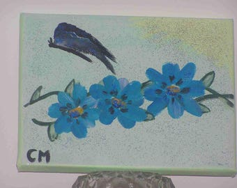 """Painting """"Blue flowers and Butterfly"""" on canvas (18x24cm) frame"""
