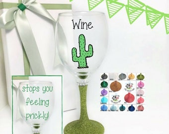 New home housewarming gift for a friend, cactus gift, cactus wine glass, succulent wine glass, cacti gift, housewarming gift friend,