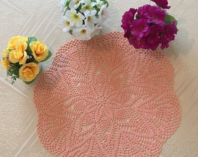 Crocheted doily, Crochet coaster, Housewarming Gift, Round tablecloth, Coffee Table Doily, Drink Coasters, Crocheted linen, doily peach.