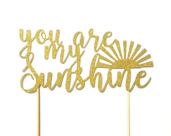 1 pc you are my sunshine script Gold Glitter Cake Topper for Birthday Baby Shower boy girl