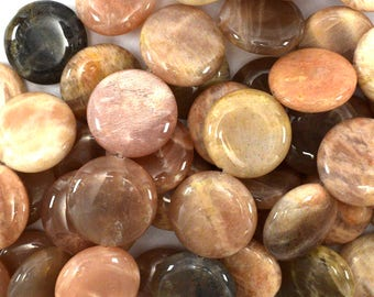 "18mm sunstone coin beads 15.5"" strand 39151"