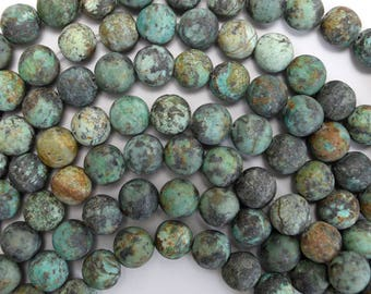 """10mm matte african turquoise round beads 15"""" strand 38036"""
