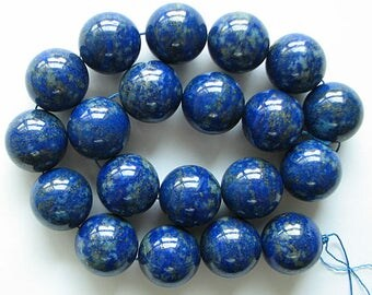 "A+ 20mm lapis lazuli round beads 16"" strand 11031"