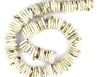 """14-28mm white turquoise chip nugget 16"""" strand 37062"""