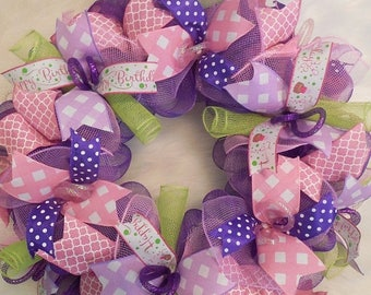 SALE Happy Birthday Wreath, Birthday Wreath, Birthday Wreaths, Happy Birthday Wreaths, 1st birthday decorations, 1st birthday for girl