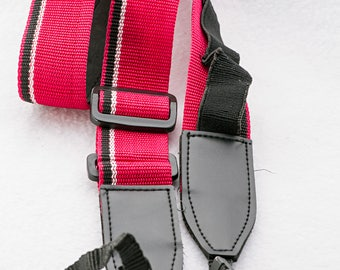 """Vintage Red Fabric and Racing Stripe Camera Strap, 45"""" Long, 1.5"""" Wide for Canon, Nikon, Pentax, Sony, Minolta, and Others"""