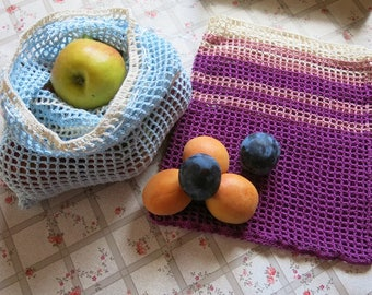 Fruit and vegetable bags, reusable, set of 2, crochet