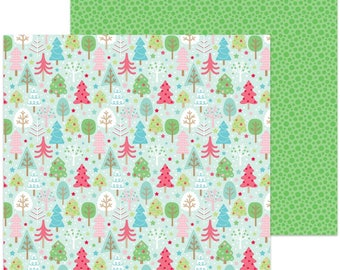 "TWO SHEETS of Doodlebug Design Christmas Milk & Cookies Collection Scrapbook 12"" x 12"" Tree Festival Double Sided Cardstock Paper"