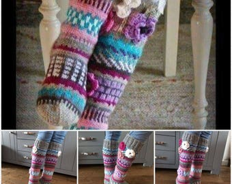 Over The Knee Socks,Thigh High Socks,Hand knit knee socks,flower knee socks,Flower socks,rainbow socks,woman leg warmers,Hand knit socks