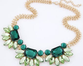 Floral Green Statement Necklace