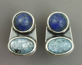 small blue clip on earrings