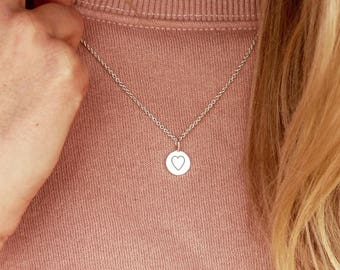Heart tag necklace (length: 45 cm, material: Silver)