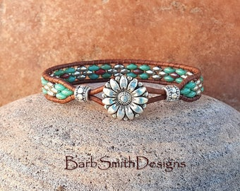 Turquoise Silver Beaded Leather Wrap Cuff Bracelet - The Skinny One in Turquoise 'n Coral - Customize It!