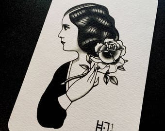 Post card Tattoo Flash fine art print Vintage lady with Rose