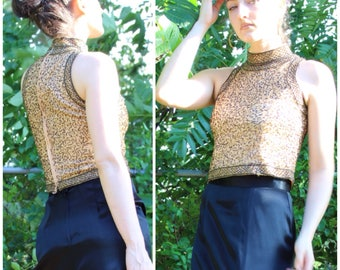 90's Silk Beaded Gold and Black Halter Dress Top