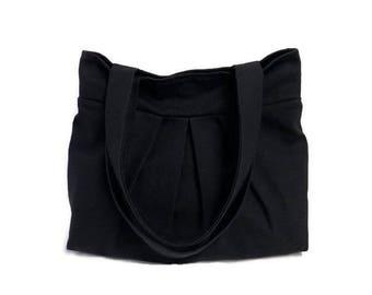 Fabric Bag - Pleated Shoulder Bag - Black Canvas Fabric Bag - Pleated Bag - Gift for Women - Black Handbag - Black Shoulder Bag - Handbag