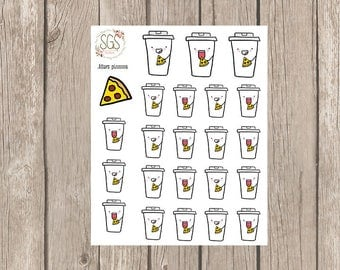 JITTERS PIZZA - Planner Stickers, Planner Stickers, Planner, Functional Stickers, coffee stickers, pizza stickers, junk food stickers,