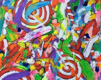Candy-Cando, 16x20 inches, Original Acrylic Painting on Canvas Paper, Modern Art Abstract Painting