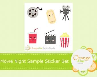 Movie Night Sample Sticker Set, Kawaii Movie Night Stickers, Kawaii Sticker, Planner Stickers, Erin Condren Life Planner