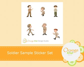 Soldier Stickers, Amry Stickers, Miliarty Stickers, Sample Sticker Set