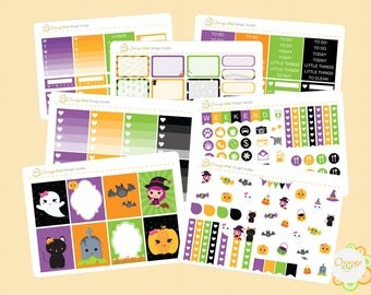 Kawaii Halloween Weekly Kit, Planner Stickers, Halloween Planner Sticker Set, Erin Condren Life Planner, Happy Planner, Plum Paper