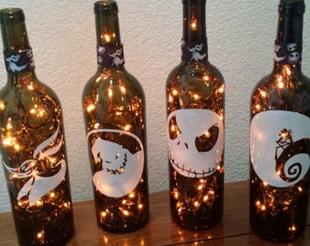 Nightmare Before Christmas Wine Bottle Lamp (orange lights)Halloween, Halloween Lights, Halloween Party, nightmare before christmas wedding