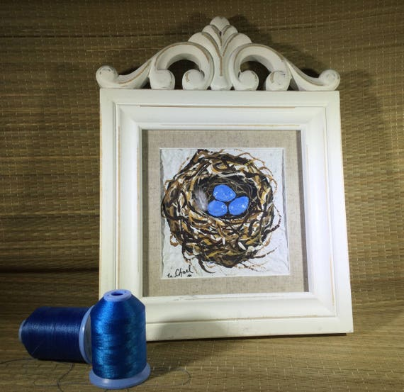 Shabby chic/ Bird nest painting/ Farm House Chic