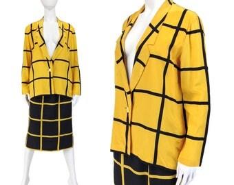 Vintage Clothing, 80s Suit S M, Pencil Skirt Suit, WindowPane, New Wave, Silk Suit, 80s Blazer, Plaid Suit, Black Suit, Yellow, SIZE S M 6 8