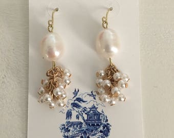 Baroque PEARL Cluster Earrings | lightweight, gold, statement earrings, Designs by Laurel Leigh
