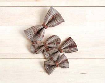 Plaid Bow, Leather bow, Fall bow, Baby Hair Bow Crocodile Clip/ Nylon Headband, Rustic Bow Adult Bow, Baby Bow, Soft Nylon Bow, Newborn Bow