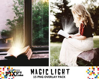 MAGIC LIGHT OVERLAYS, Light Overlays, Light Overlay, Photoshop Overlays, Magic Shine Box, Magic Book Shine, Magical Book Light