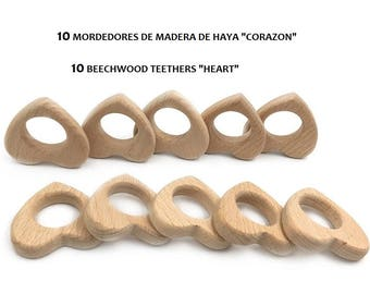 10 Natural beech Wood biters-10 HEART beech wood teethers-teething toys-wooden teethers-Wood snappers
