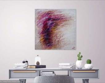 Abstract 27 Joan Mitchell-esque wall painting original art pink purple and white