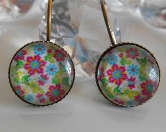 "Earrings sleepers ""multicolored flower festival"" glass cabochon"
