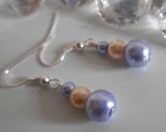 Wedding earrings authentic lavender and yellow beads