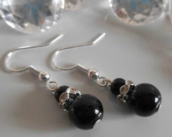 Wedding earrings rhinestone and black beads