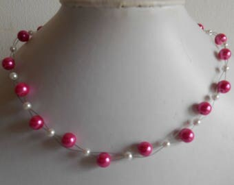 Bridal twist beads Fuchsia and white