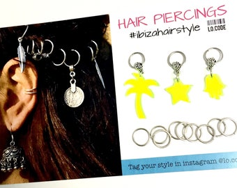 Hair hoops with charms - NEON