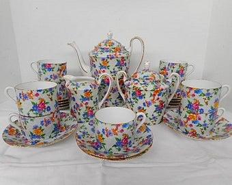 Vintage Czech Royal Epiag Floral Porcelain Coffee Service for 9 (C419)