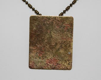 Etched and fire colored brass pendant (061617-030)