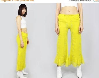 FLASHSALE 40% OFF 90s lemon yellow low waist bells bellbottoms S
